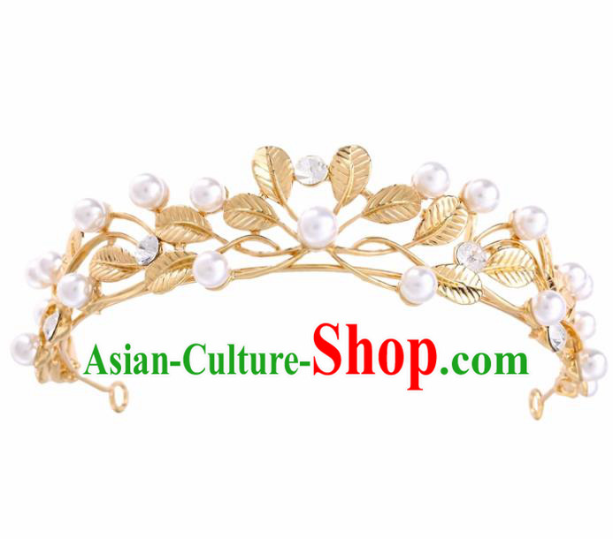 Top Grade Baroque Style Pearls Golden Royal Crown Bride Retro Wedding Hair Accessories for Women