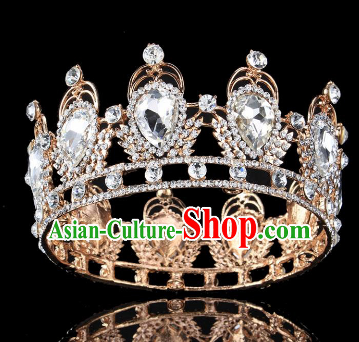 Top Grade Baroque Style Crystal Round Royal Crown Bride Retro Wedding Hair Accessories for Women