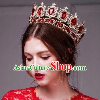 Top Grade Baroque Style Red Rhinestone Royal Crown Bride Retro Wedding Hair Accessories for Women