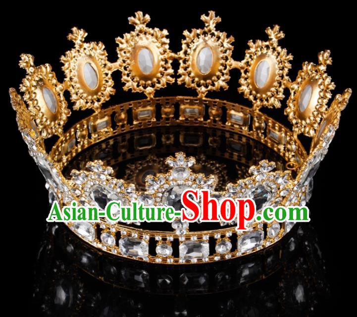 Top Grade Baroque Style Champagne Rhinestone Royal Crown Bride Retro Wedding Hair Accessories for Women