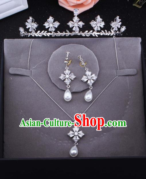 Top Grade Baroque Style Bride Jewelry Accessories Zircon Royal Crown Necklace and Earrings for Women