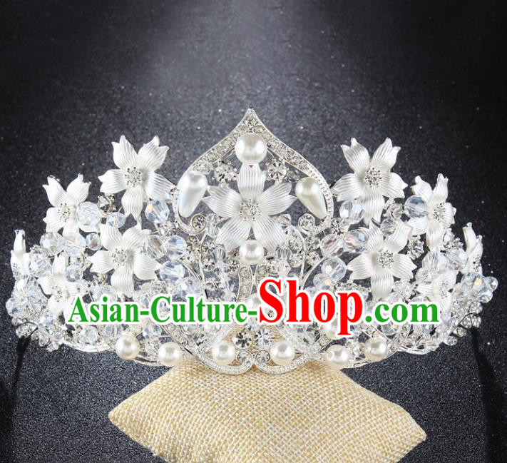 Top Grade Baroque Style Handmade Pearls Royal Crown Bride Retro Wedding Hair Accessories for Women