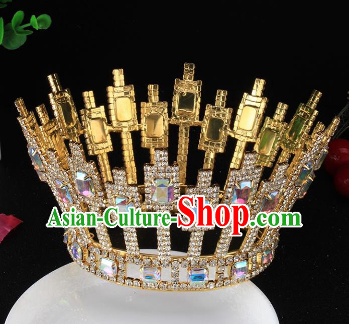 Top Grade Baroque Handmade Crystal Golden Round Royal Crown Bride Retro Wedding Hair Accessories for Women
