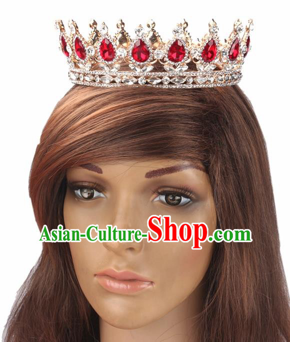 Handmade Wedding Red Rhinestone Royal Crown Baroque Queen Retro Hair Accessories for Women