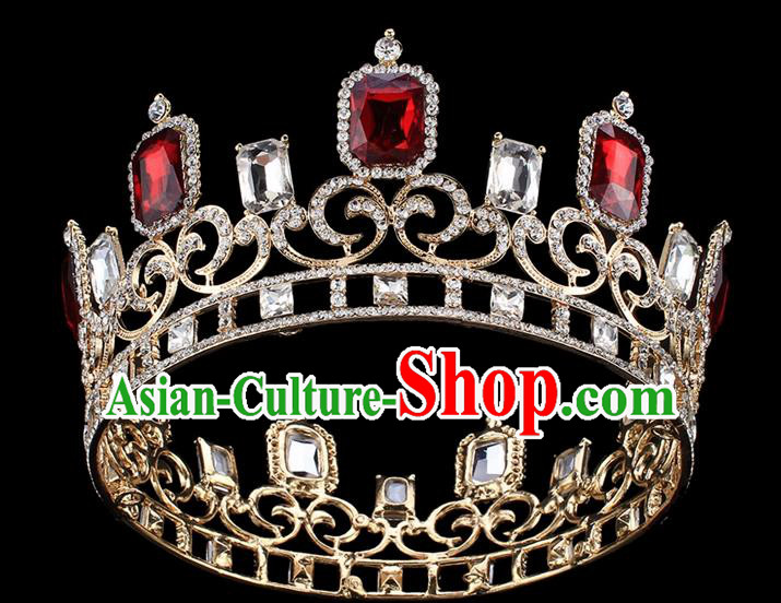 Handmade Wedding Queen Red Rhinestone Royal Crown Baroque Retro Hair Accessories for Women