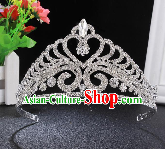 Handmade Wedding Bride Rhinestone Hair Accessories Baroque Queen Retro Crystal Royal Crown for Women