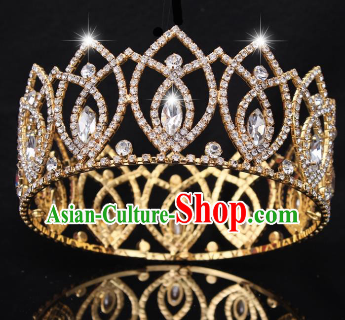 Top Grade Baroque Handmade Crystal Golden Royal Crown Bride Retro Wedding Hair Accessories for Women