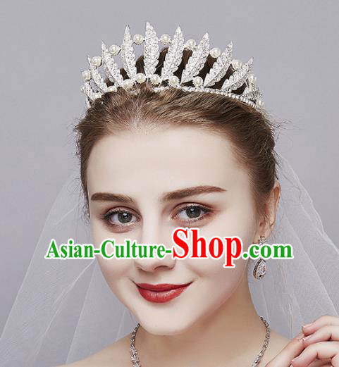 Top Grade Wedding Bride Hair Accessories Baroque Princess Retro Pearls Royal Crown for Women