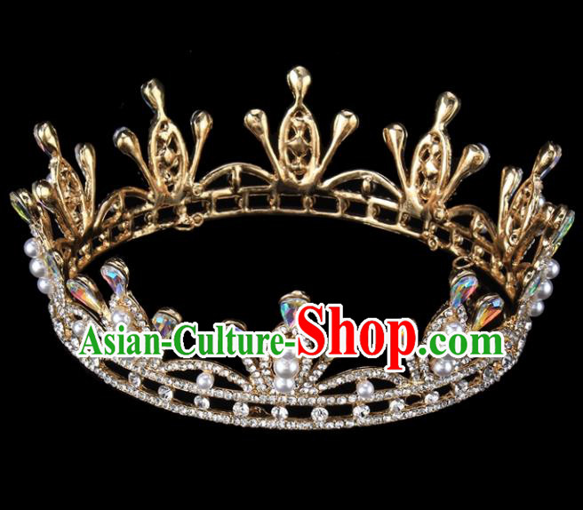 Top Grade Wedding Bride Hair Accessories Baroque Princess Retro Court Pearls Royal Crown for Women
