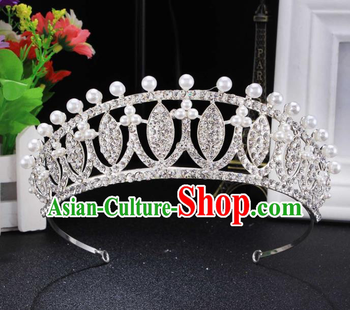Top Grade Wedding Bride Hair Accessories Baroque Princess Pearls Retro Royal Crown for Women