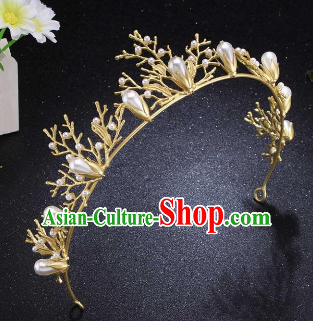 Top Grade Wedding Bride Pearls Hair Accessories Baroque Princess Retro Golden Royal Crown for Women