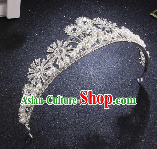 Top Grade Wedding Bride Pearls Hair Accessories Baroque Princess Retro Royal Crown for Women