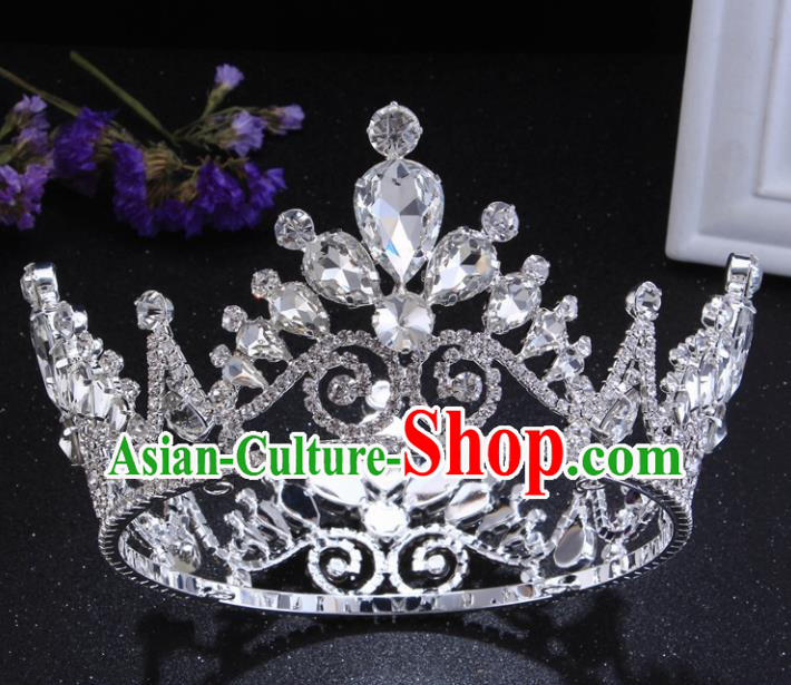 Top Grade Crystal Round Royal Crown Baroque Princess Retro Wedding Bride Hair Accessories for Women