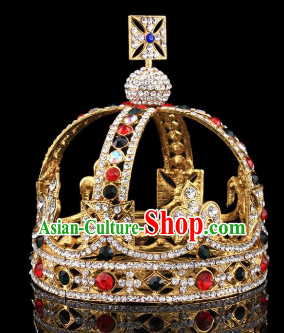 Handmade Top Grade Baroque Queen Crystal Round Royal Crown Bride Retro Wedding Hair Accessories for Women