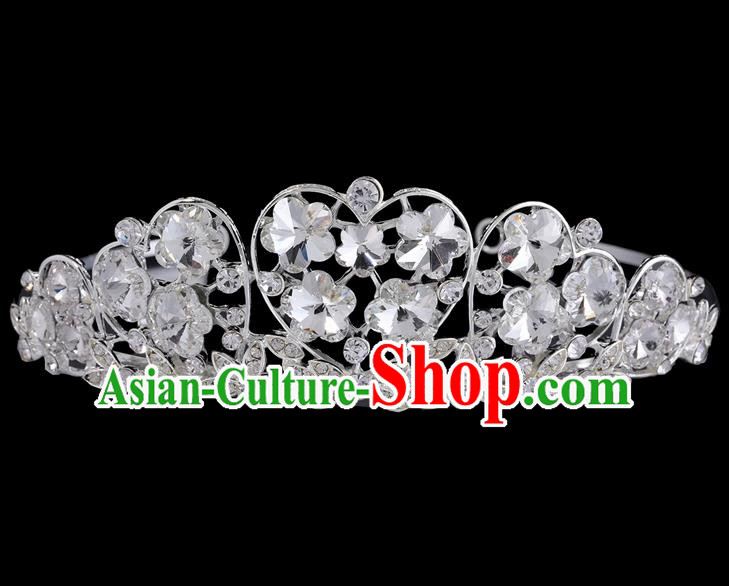 Handmade Top Grade Baroque Crystal Flowers Hair Clasp Royal Crown Bride Retro Wedding Hair Accessories for Women