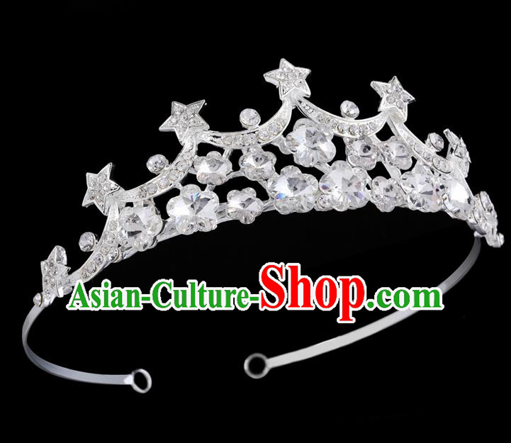 Handmade Top Grade Baroque Crystal Stars Hair Clasp Royal Crown Bride Retro Wedding Hair Accessories for Women