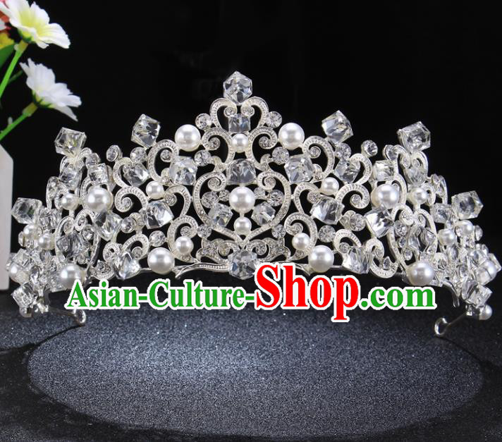 Top Grade Pearls Royal Crown Baroque Princess Retro Wedding Bride Hair Accessories for Women