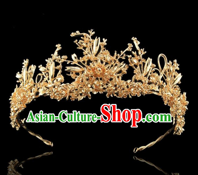 Top Grade Retro Golden Flowers Royal Crown Baroque Queen Wedding Bride Hair Accessories for Women