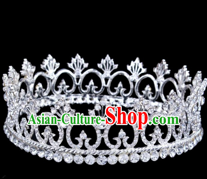 Top Grade Retro Crystal Round Royal Crown Baroque Queen Wedding Bride Hair Accessories for Women