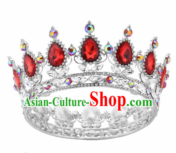 Top Grade Queen Retro Red Rhinestone Royal Crown Baroque Wedding Bride Hair Accessories for Women