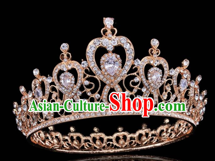 Top Grade Retro Golden Royal Crown Baroque Queen Wedding Bride Hair Accessories for Women