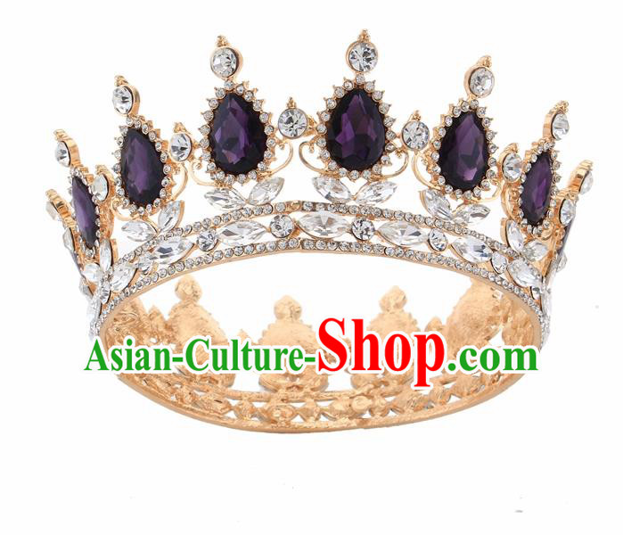 Top Grade Queen Retro Purple Rhinestone Golden Royal Crown Baroque Wedding Bride Hair Accessories for Women