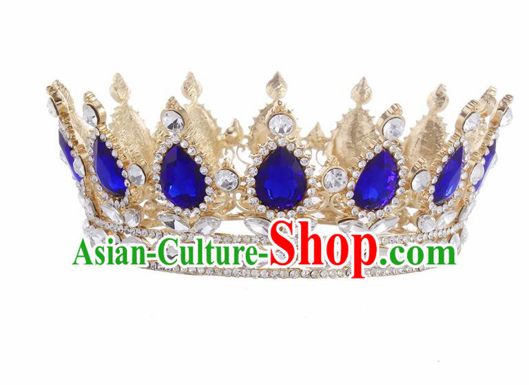 Top Grade Queen Retro Blue Rhinestone Golden Royal Crown Baroque Wedding Bride Hair Accessories for Women