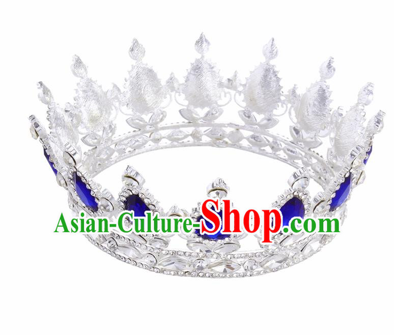 Top Grade Queen Retro Blue Rhinestone Royal Crown Baroque Wedding Bride Hair Accessories for Women