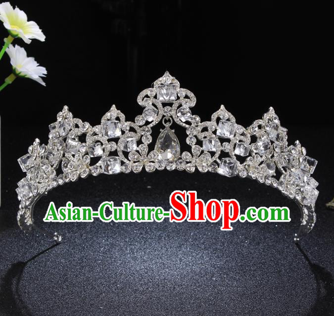 Top Grade Queen Retro Rhinestone Royal Crown Baroque Wedding Bride Hair Accessories for Women