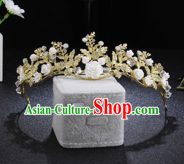 Top Grade Retro Princess Flowers Royal Crown Baroque Wedding Bride Hair Accessories for Women