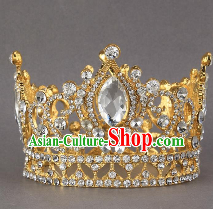 Top Grade Princess Rhinestone Round Royal Crown Retro Baroque Wedding Bride Hair Accessories for Women