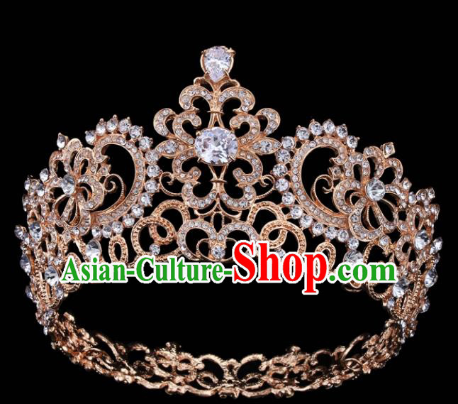Top Grade Retro Golden Crystal Royal Crown Baroque Queen Wedding Bride Hair Accessories for Women