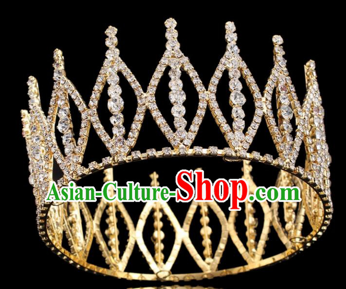 Top Grade Princess Round Golden Royal Crown Retro Baroque Wedding Bride Hair Accessories for Women
