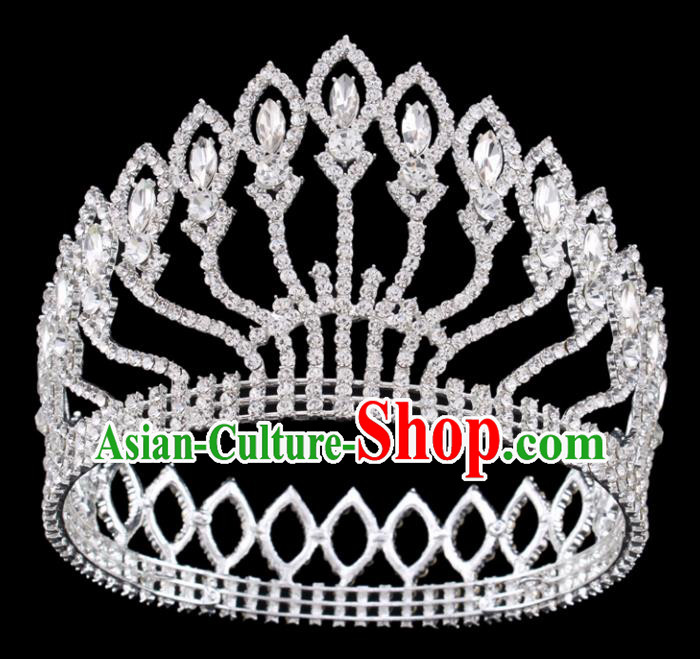 Handmade Top Grade Queen Crystal Round Royal Crown Baroque Bride Retro Wedding Hair Accessories for Women