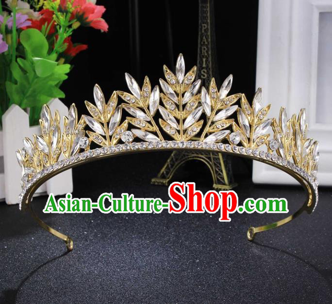 Handmade Top Grade Wedding Crystal Royal Crown Baroque Princess Retro Hair Accessories for Women