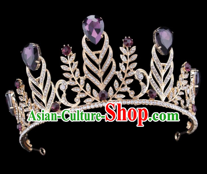 Handmade Top Grade Wedding Purple Crystal Royal Crown Baroque Princess Retro Hair Accessories for Women