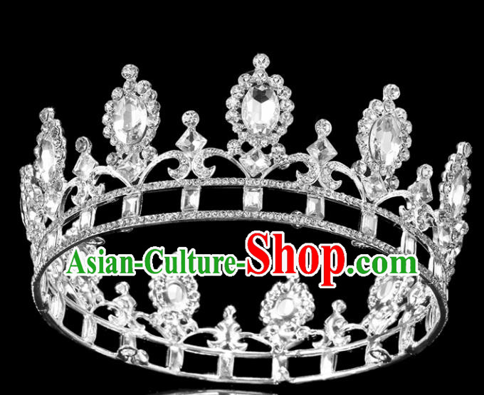 Top Grade Handmade Wedding Crystal Royal Crown Baroque Princess Retro Hair Accessories for Women