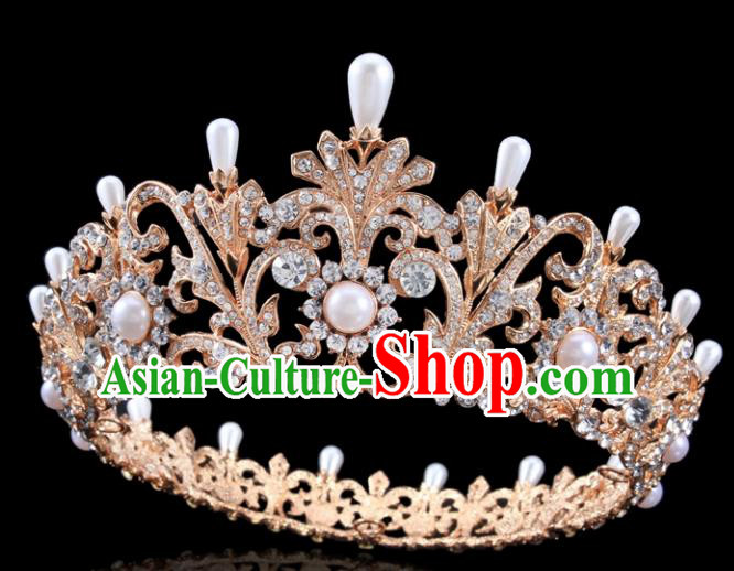 Top Grade Handmade Wedding Crystal Pearls Golden Royal Crown Baroque Retro Hair Accessories for Women