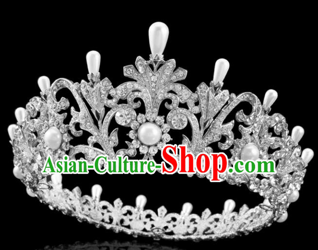 Top Grade Handmade Wedding Crystal Pearls Royal Crown Baroque Retro Hair Accessories for Women