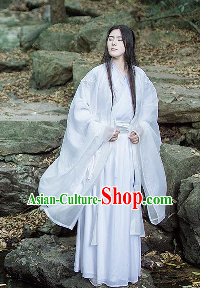 Traditional Chinese Jin Dynasty Nobility Childe Costumes Ancient Swordsman White Clothing for Men