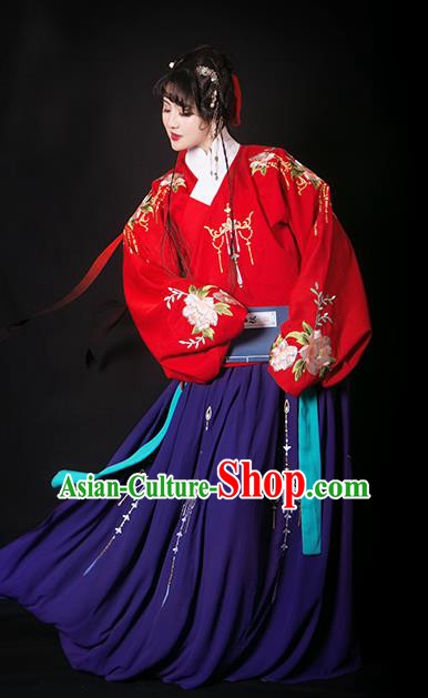 Traditional Chinese Ming Dynasty Nobility Lady Costumes Ancient Princess Embroidered Dress for Rich