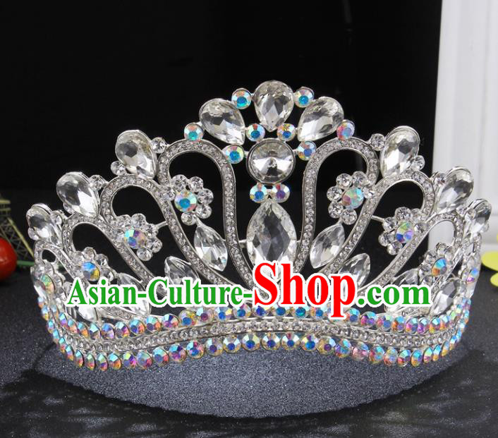 Top Grade Queen Crystal Royal Crown Retro Baroque Wedding Bride Hair Accessories for Women