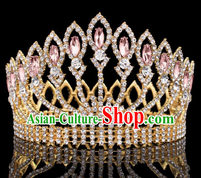 Top Grade Baroque Court Queen Pink Crystal Royal Crown Wedding Bride Hair Accessories for Women