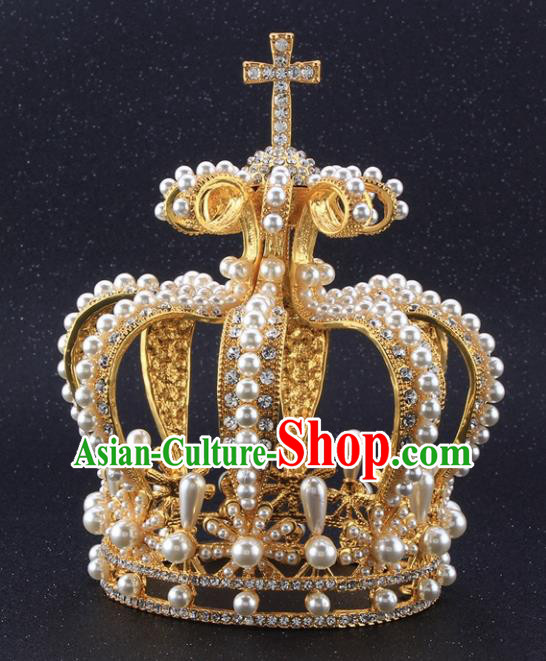 Top Grade Queen Pearls Golden Royal Crown Retro Baroque Wedding Bride Hair Accessories for Women