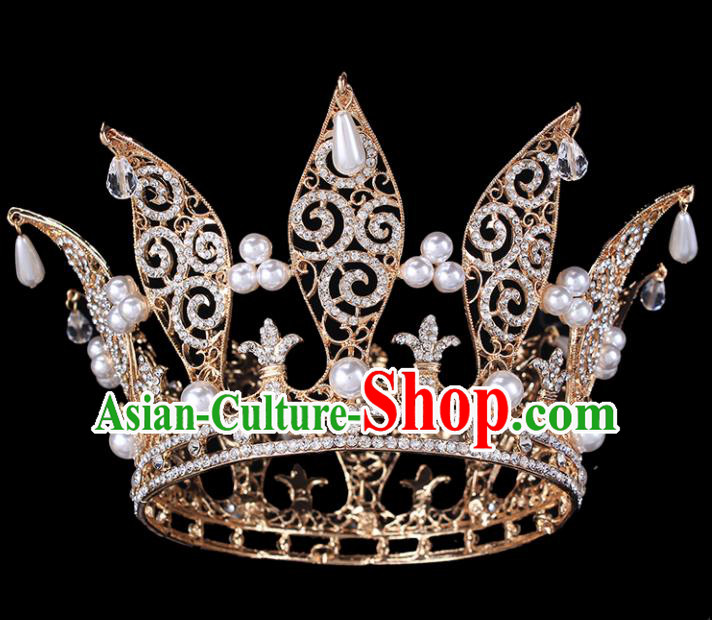Handmade Bride Wedding Hair Jewelry Accessories Baroque Queen Crystal Pearls Golden Royal Crown for Women