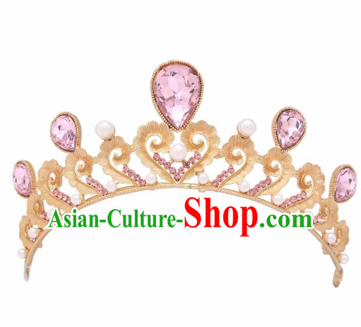 Handmade Bride Wedding Hair Jewelry Accessories Baroque Queen Pink Crystal Royal Crown for Women