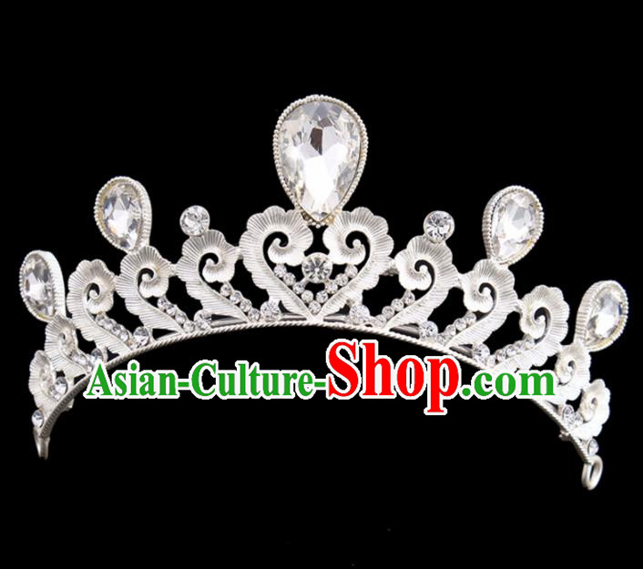 Handmade Bride Wedding Hair Jewelry Accessories Baroque Queen Crystal Royal Crown for Women