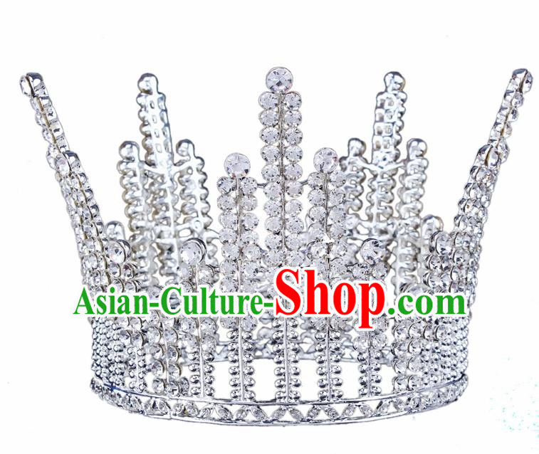 Top Grade Baroque Court Princess Crystal Argent Royal Crown Wedding Bride Hair Accessories for Women