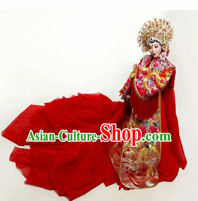 Chinese Tang Dynasty Empress Embroidered Wedding Costumes Ancient Palace Hanfu Dress for Women