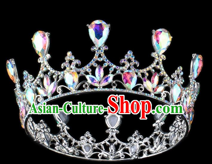 Top Grade Baroque Court Princess Round Royal Crown Wedding Bride Hair Accessories for Women